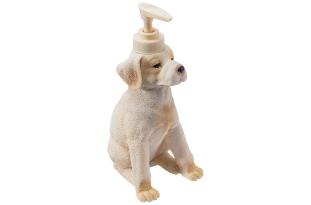 This adorable lotion dispenser is a cute piece of Labrador Retriever art